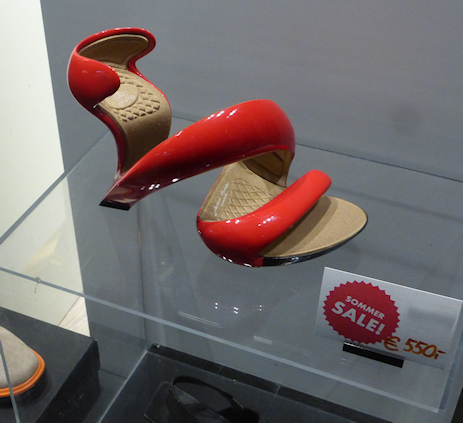 red shoe in the museum shop